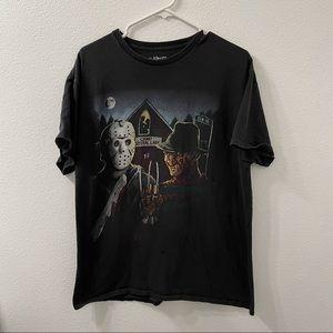 Freddy vs Jason killer duo t shirt black large